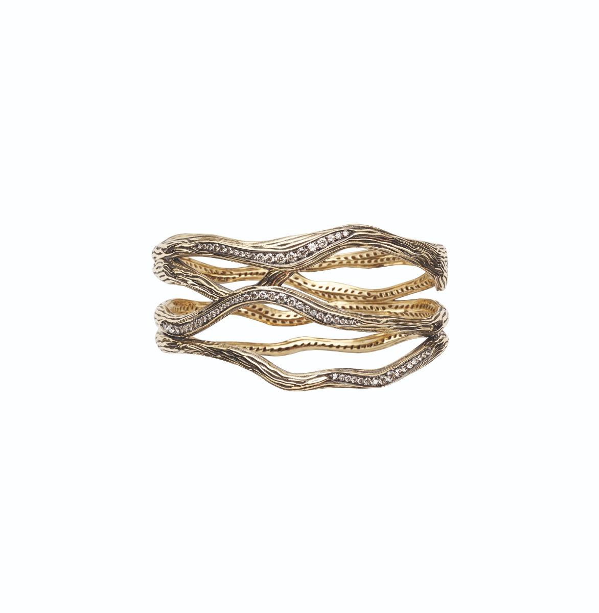Antonini Milano XL 2018 - bracciale collezione Vulcano oro e diamanti champagne, cuff gold diamonds