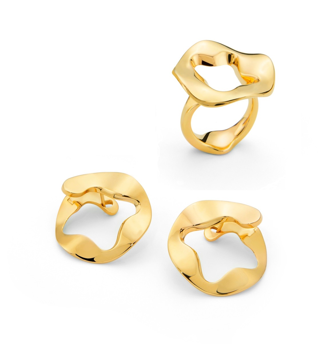 Antonini Anniversary100 collection ring and earrings yellow gold