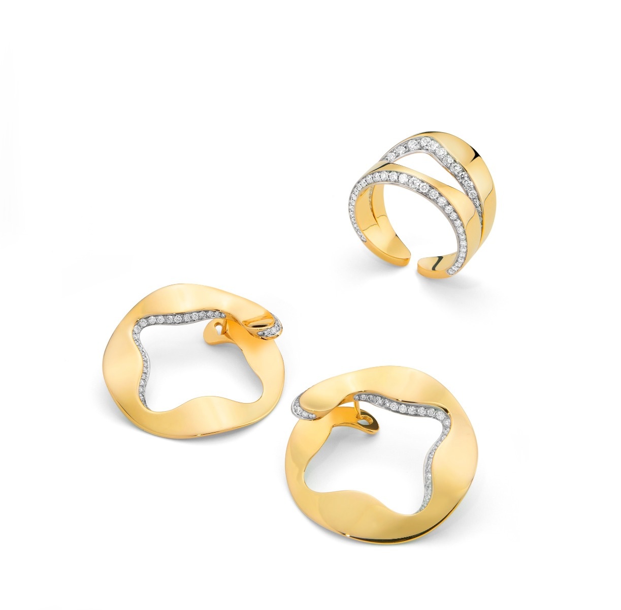 Antonini Anniversary100 collection ring earrings yellow gold and diamonds