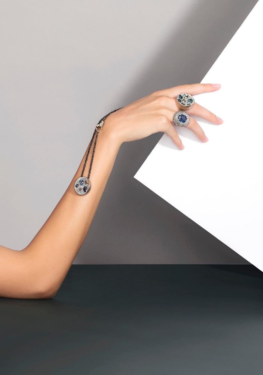 Antonini nuova campagna adv, anelli e pendente zaffiri e oro sapphires gold diamonds ring pendant